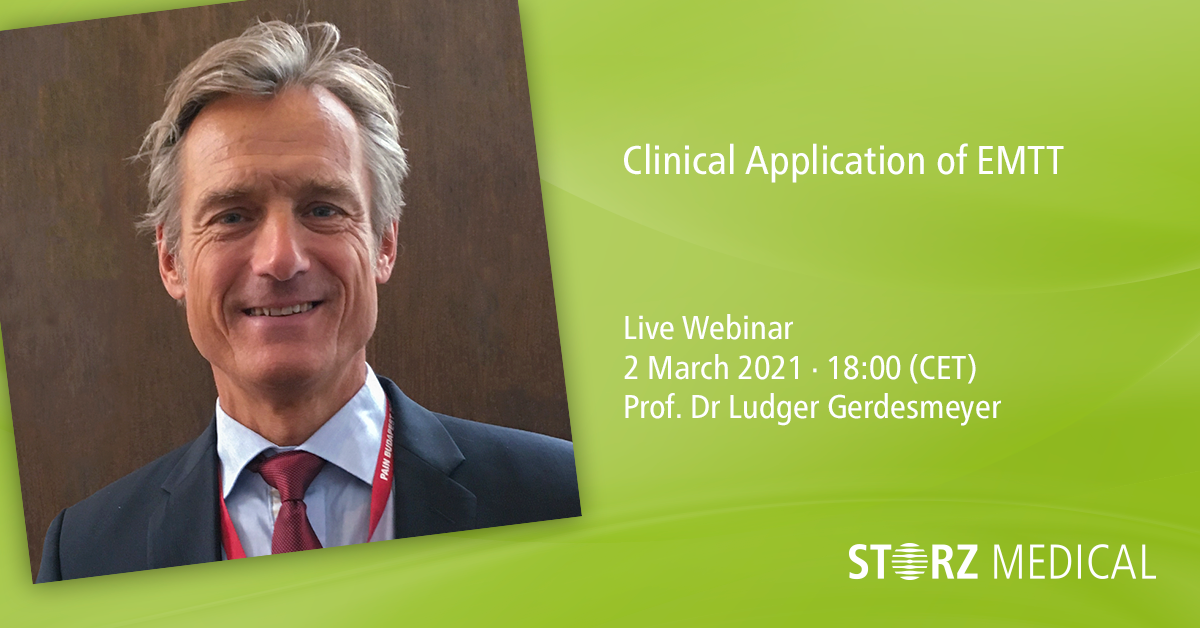 Webinaire STORZ MEDICAL en direct «Clinical Application of Extracorporeal Magnetotransduction Therapy (EMTT)»